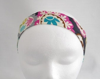 FREE SHIPPING --- Headband - Adult/Teen Size - Large Paisley Purples and Blues