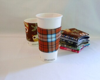 FREE SHIPPING --- Eco-Friendly Reuseable Coffee/Tea Sleeve --- Mens Collection --- Plaid