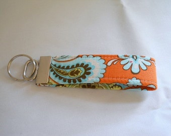 FREE SHIPPING ---- Wristlet Key Fob -- Amy Butler Orange French Wallpaper