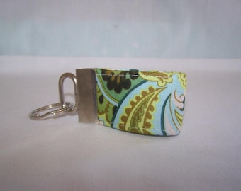 FREE SHIPPING ---- Extra MINI Key Fob ---- Amy Butler Duck Egg Spruce ---- Out of Print Fabric