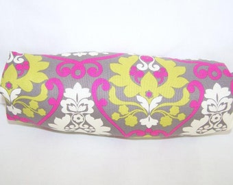 Reversible Car Seat ARM PAD Handle Cover -- Pink Greenn White Damask