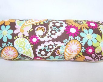 Reversible Car Seat ARM PAD Handle Cover -- Brown Green Pink Yellow Orange Paisley and Stripes