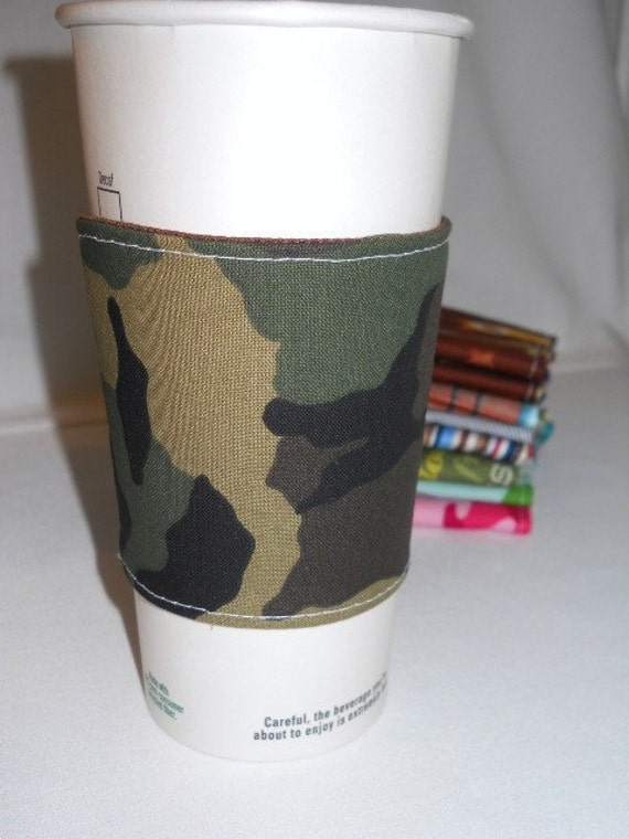 FREE SHIPPING --- Eco-Friendly Reuseable Coffee/Tea Sleeve --- Mens Collection --- Green Cammo