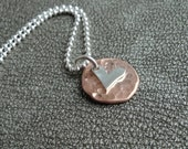 Tiny Sterling Silver Heart Layered with a Hammered Copper charm Necklace - Gifts for Her - Valentine's Day