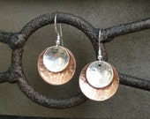 Copper and Sterling Silver Hammered Earrings (medium) - Gifts for Her - Mother's Day Gift