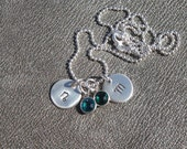 Two Personalized Initial Charms with Swarovski Crystal Birthstones - Gifts for Her - Gifts for Mom