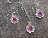 Sterling Silver Flower Pendant and matching Earrings with Swarovski Crystals Perfect for Flower Girls