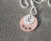 Hockey Mom Personalized Hand Stamped Necklace with Hockey Stick Charm - Gifts for Mom  - Hockey Mom