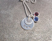 Cheerleading - Pom Necklace Hand Stamped Sterling Silver with Team Colors - Gifts for Her - Coach Gift - Gifts for Mom