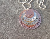 Wife Mother Grandmother Great Grandmother Hand Stamped Hammered Necklace - Copper Sterling Silver Brass - Gift for Her