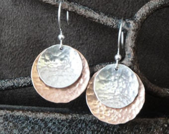 Copper and Sterling Silver Hammered Earrings (large) - Gifts for Her