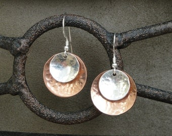 Copper and Sterling Silver Hammered Earrings (medium) - Gifts for Her