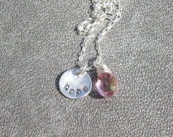 Hand Stamped Hope Charm with a  Mystic Pink Quartz Briolette Wire Wrapped in Sterling Silver