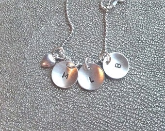 Personalized Initial Sterling Silver Charms Hand Stamped and Domed with Sterling Silver Heart - Three Initials - Gifts for Mom