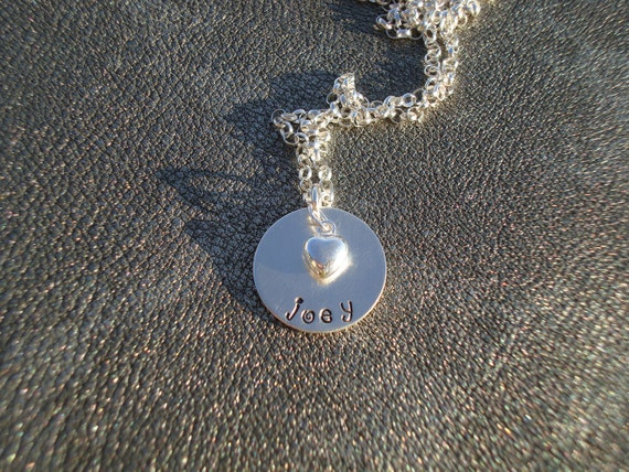 Personalized Name Necklace Hand Stamped Sterling Silver pendant with Sterling Silver Heart - Gifts for Her - Mother's Day