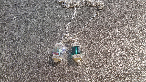 Mother's Necklace Two Swarovski Cubed Crystals on a Sterling Silver Chain - Birthstone Jewelry - Gifts for Her -Gifts for Mom -Mother's Day
