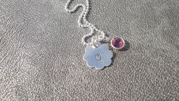 Personalized Childrens Initial Sterling Silver Flower Pendant Hand Stamped with Swarovski Crystal - Flower Girl Gift