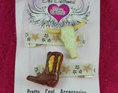 Glitter Cow Skull And CowGirl Boot Beige And Brown Stars Ribbon Lined No Slip Alligator Hair Clip Set