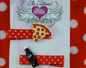 Cola And Pizza Slice Red & White Polka Dot No Slip Grip Alligator Hair Clip Set