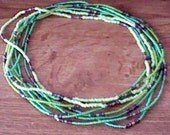 Eight Vintage stretchy green colorful bead chokers beach, surfer