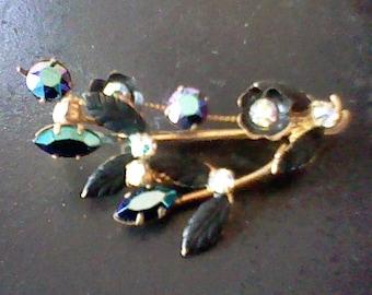 Vintage Austrian Crystal Leaf Brooch