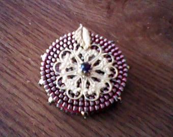 Vintage Red, Gold, Silver colored leaf drum pendant