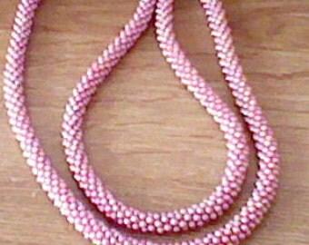 Vintage Pink Bead Rope Necklace Cute!