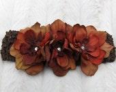 Rust Colored Flowers with Swarovski Centers on Chocolate Brown Crochet Headband