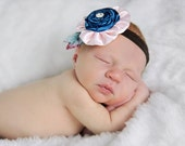 Baby Flower Headband - Infant Headband - Newborn Headband - All Sizes - Photo Prop - Teal Blue and Light Pink Flower Headband