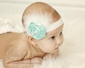 Baby Flower Headband - Feather Headband - Infant Flower Headband - Photo Prop - Tiffany Inspired Aqua Blue Rosette Flower Headband