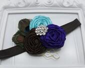 Baby Flower Headband - Peacock Feather Headband - Rosette Headband- Photo Prop - Vintage Inspired Rosette and Peacock Feagther Headband