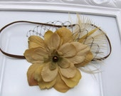 Baby Flower Headband - Newborn Headband - Flower Headband - Feather Headband - Vintage Inspired Taupe Flower with Veiling and Feathers