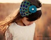 Peacock Feather Headband - Baby Flower Headband -  Newborn Headband - Photography Prop - Couture Peacock Headband