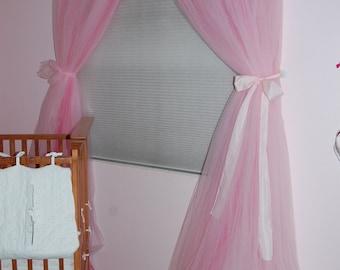 Pink tulle princess curtain panels single shade