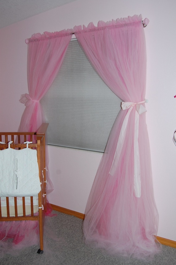 Items Similar To Pink Tulle Princess Curtain Panels Single