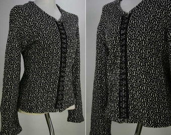 Vintage Retro Vixen Hook n Eye Nubby Woven Sweater Cardigan
