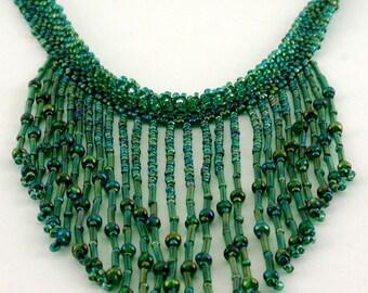 Sweet Summer Grass Beaded Fringe Necklace