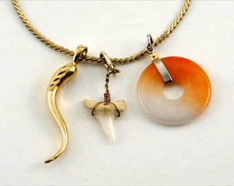 Italian Horn The Midas Touch Trinity Gold Charms and Necklace (Italian Horn, Jade and Shark Tooth)