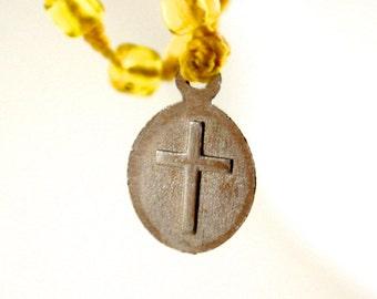 Yellow glass Beaded Rosary religous necklace