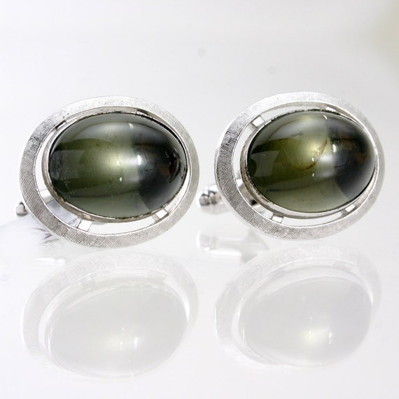 Retro Moody Green Stone and Silver Brushed Metal Cuff Links