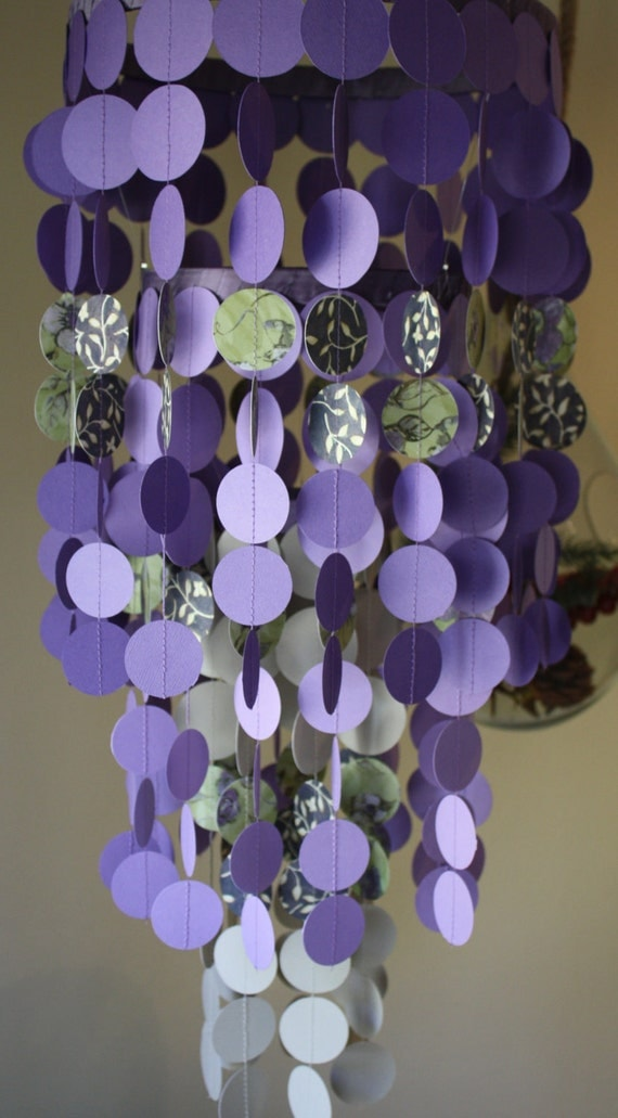 Floral Print Purple And Tan Paper Chandelier Or Mobile