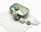Bracelet made from vintage bead cluster earrings BLUE CLOUD