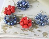 Vintage earring bracelet . Red and denim blue. One of a kind and gorgeous. BLUE JEAN BABY Free international shipping