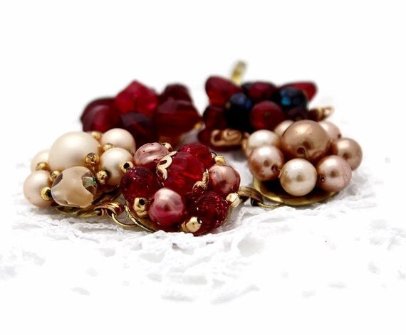 Vintage jewelry recycled RASPBERRY CREAM