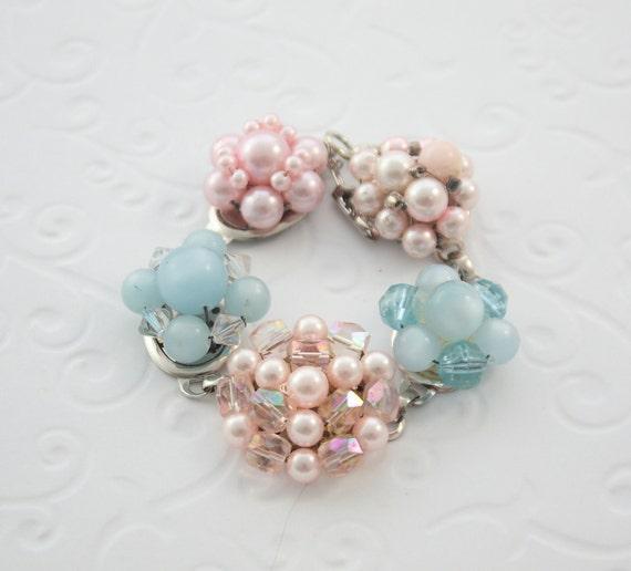 Bracelet recycled from vintage earrings.  Atlantis.