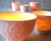 Lovely Porcelain Lace Bowl, Translucent Candle Holder-Hideminy Lace Series