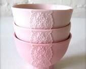 Set of 3 Pink Pink Pink Porcelain Lace Bowls