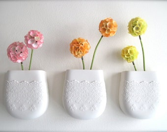 Porcelain Flower Lace Wall Pocket-Perfect Mother's Day gift or for yourself