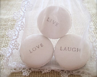 Live Love Laugh ... Ceramic Macaroon Fragrance Object, Home Decor, Wall Hanging