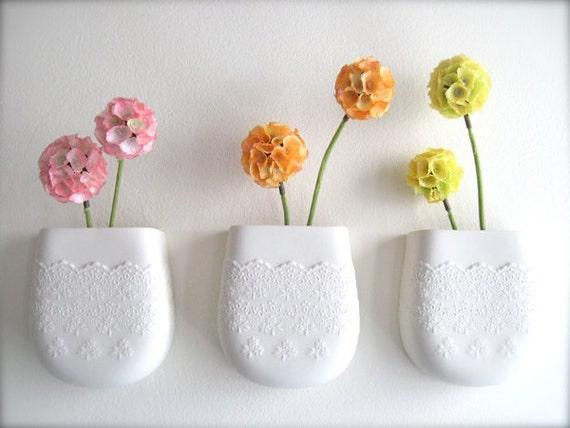 Custom Reserve Listing for Kylie Porcelain Flower Lace Wall Pocket